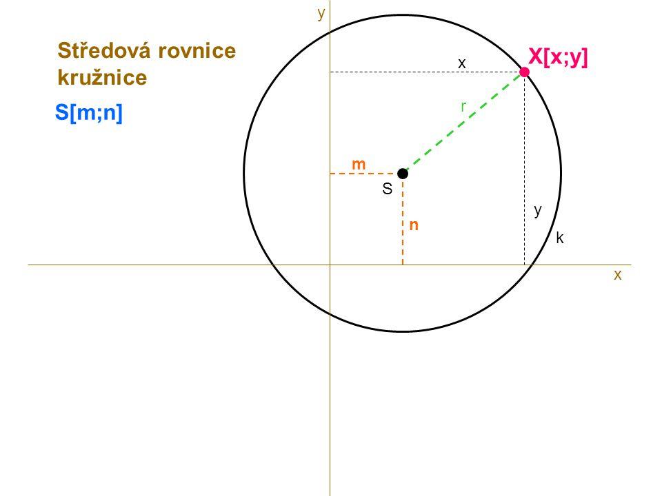 y Středová rovnice kružnice X[x;y] x S[m;n] r m S y n k x